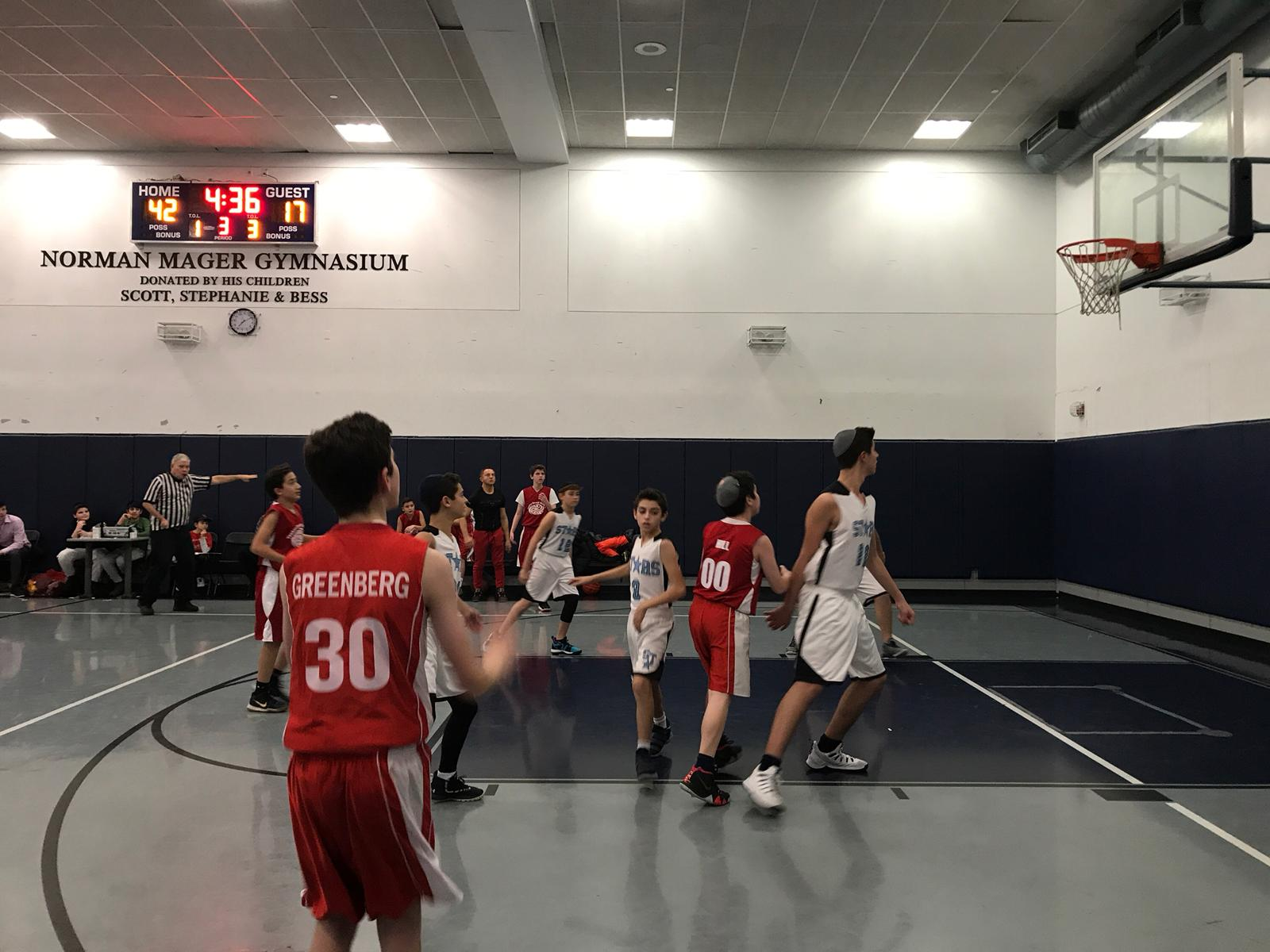 Yeshiva middle schools students play basketball