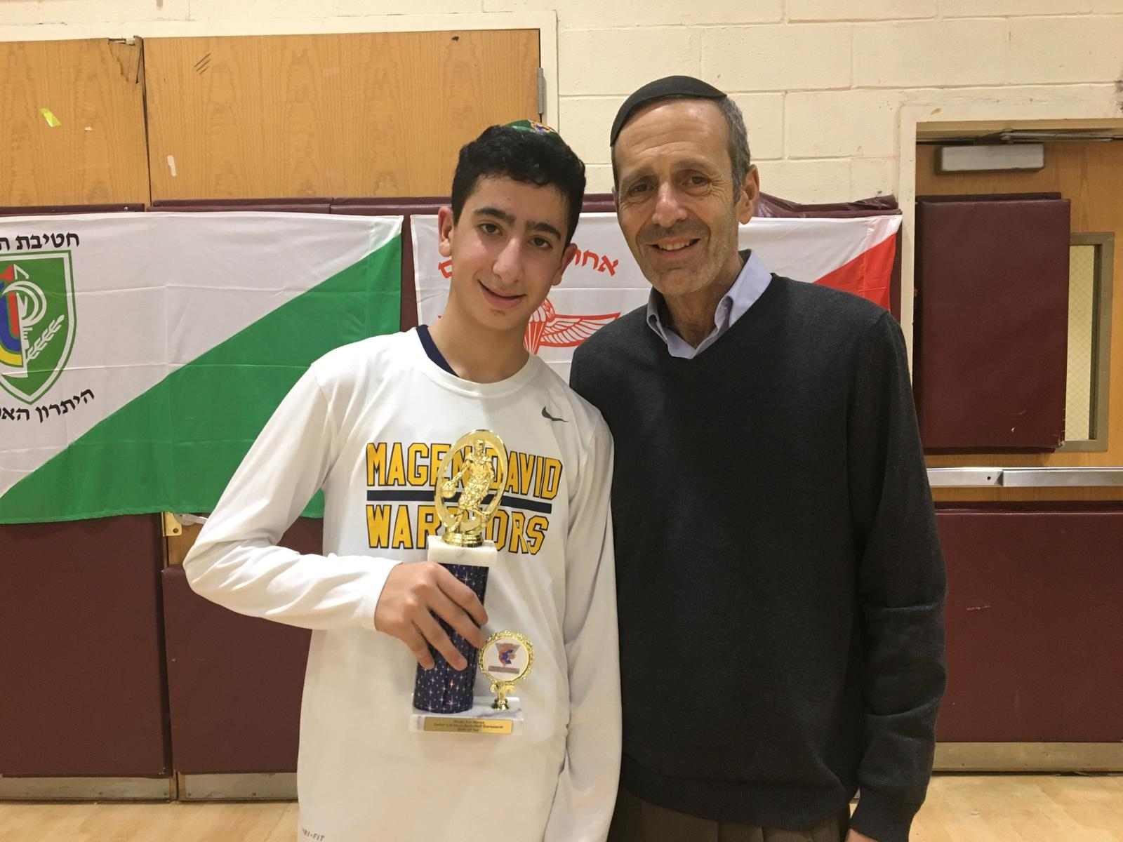 Judah Rhine with the 2018 Basketball champ from Magen David Yeshiva