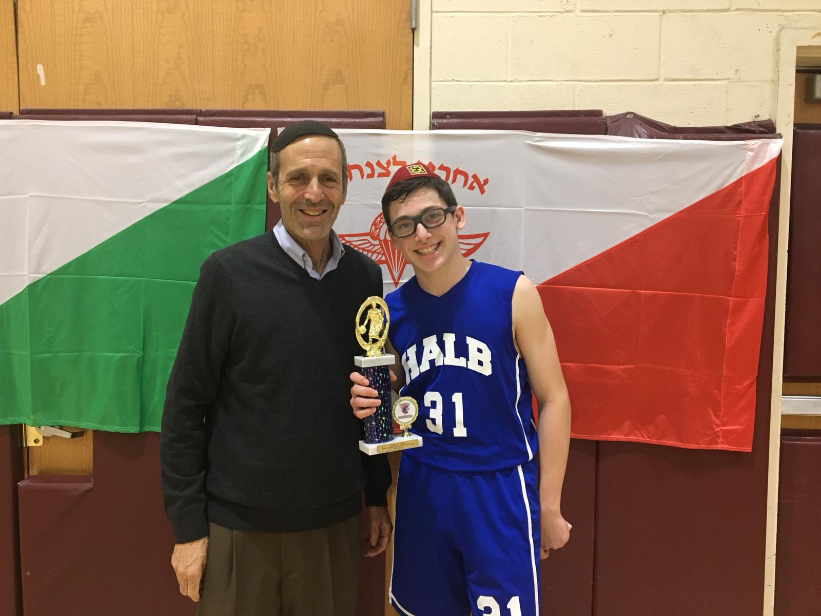 Judah Rhine with the 2018 Basketball champ from Hebrew Academy - Long Beach