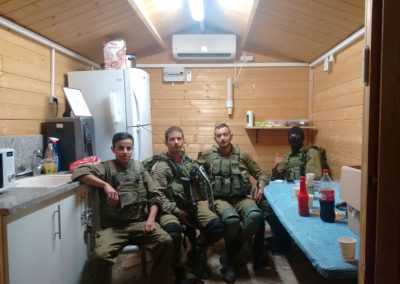 Some cool IDF soldiers enjoying the Warm Corner built with donations from our friends.