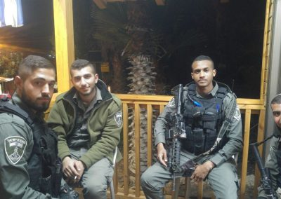 IDF soldiers enjoy relaxing outside of the Warm Corner.