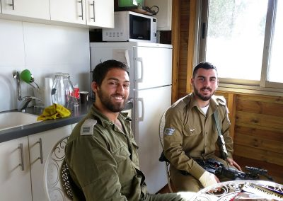 Two IDF soldiers enjoying the comforts of our Warm Corners